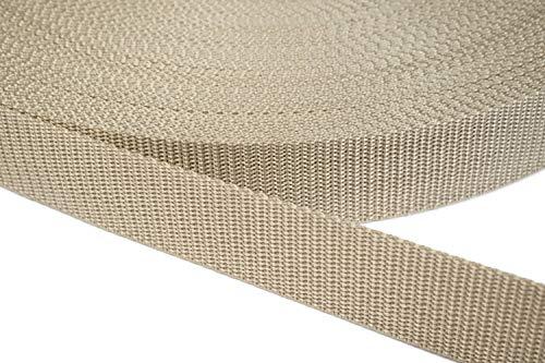 PP Gurtband 25mm aus Polypropylen, 12 Meter lang, 1,2mm Stark/Farbe: 03 - beige