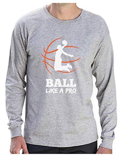 Camiseta de Manga Larga para Hombre- Baloncesto Regalos Originales Idea Regalo Jugador Baloncesto - Basketball Fans Large Gris