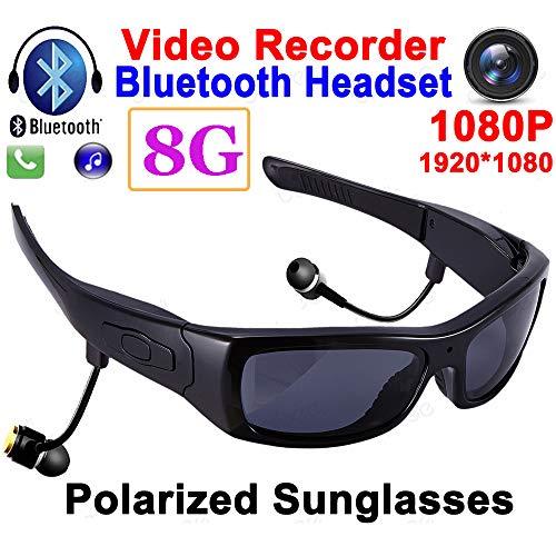 MLSJM Multi-Funktions-Bluetooth Smart Brille, 1080P HD-Kamera-Sport polarisierte Sonnenbrille Bluetooth-Kopfhörer mit Mikrofon TR90 Rahmen OTG Video Recorder, 8G,Black Lens