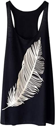 Feitengtd Summer, 2019 Women's Summer Feather Print Long Vest Fashion Ladies Top