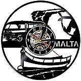 JZDH Reloj de Pared República de Malta Reloj de Pared Vintage Récord de Vinilo Reloj de Pared Europeo Turismo Turismo Regalo de Viaje Recuerdo Repubblika Ta 'Malta