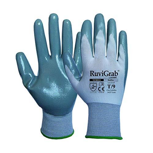 Ruvigrab Guante soporte textil, recubrimiento nitrilo gris