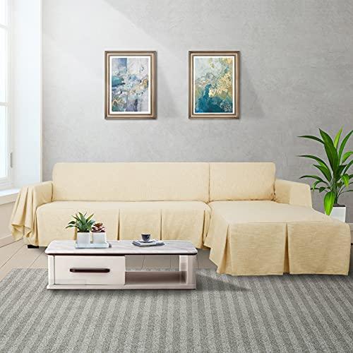 MAXIJIN Funda de sofá seccional en Forma de L Funda de sofá de Lino de 2 Piezas con Funda Protectora de Volantes para Sala de Estar (3 Asientos y diván Izquierdo, Reed Amarillo)