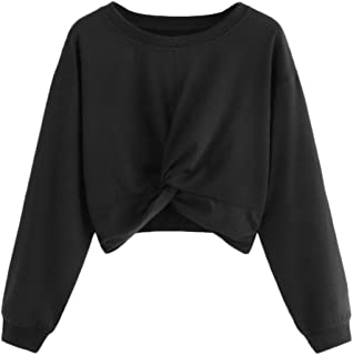 F_Gotal Sweatshirts for Women Long Sleeve Crew Neck Knot Hem Cute Pullover Crop Tops Outwear for Teen Girls