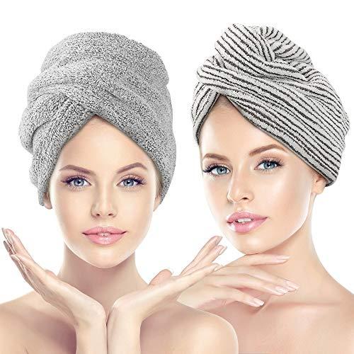 CestMall 2 Pack Haarhanddoek Wrap, microvezel haarkap, anti-kroezen, absorberend en zachte douche, droge haarhoed haardrogende handdoek met knop Quick Magic Head Handdoek Bad Haarpet voor vrouwen meisjes moeder dochter