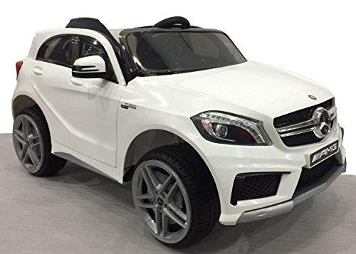 RIRICAR Voiture électrique Enfant Mercedes-Benz A45 AMG, Blanc, 1 Place, avec Télécommande 2.4 Ghz, Batterie 12 V, 2X Moteur 35W, 36 Mois - 7 Ans