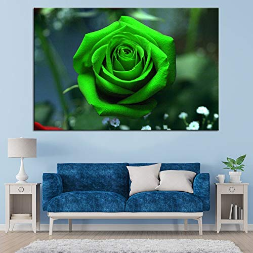 N / A Modern Green Rose Flower Poster Canvas Painting Flower Wall Art Picture Living Room Weeding Gift Wall Art Print