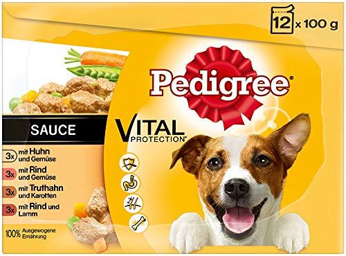 Pedigree Hundefutter Nassfutter Adult in Sauce, 12 Portionsbeutel (12 x 100g)