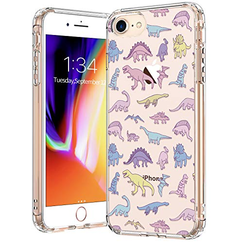 BICOL iPhone SE2 Case 2020,iPhone 7 Case,iPhone 8 Case,Dinosaurs Pattern Clear Design Transparent Protective Silicone Cover Phone Case for Apple iPhone 7/iPhone 8/iPhone SE2