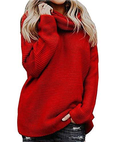 Yidarton Pullover Damen Rollkragenpullover Strickpullover Lässiges Stricken Pulli Winter Sweatshirt Oberteile Elegant, Rot, M