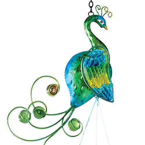 Bits and Pieces–Windspiel, bunter Pfau–Metall und Glas zum Aufhängen, Skulptur und Windspiel - 3