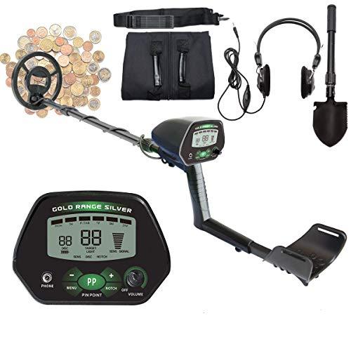 Detector de Metales Profesional Pantalla LCD con DISC/All Metal/NotCH/PINPOINT modos, visión nocturna, bobina impermeable alta precisión, pala multifunción, con casco