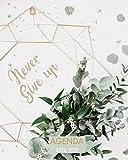 Agenda 2018-2019 Never Give Up: Organizador y planificador con citas de inspiración, tamaño 20 x 25 cm, Diseño mandala antigüedad floral, Octubre 2018 - diciembre 2019
