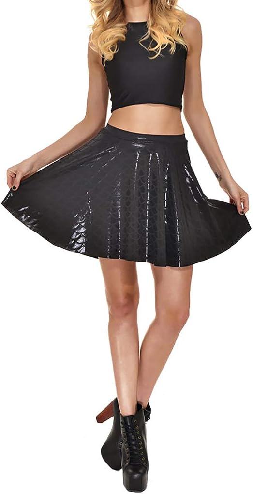 LinvMe Women Mermaid Fish Scale Pleated Flared Mini Skirts