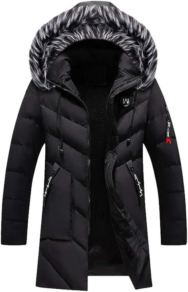 NotingBuss Winter Coats Down Jackets for Men Warm Parka Long Warm Faux Fur Lined Jacket Overcoat