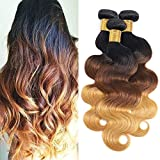 Fheaicr Human Hair Bundles 22 24 26 inch Bundles 1B/4/27 Color 3 Tone Ombre Blonde Hair Bundles Ombre Blonde Brazilian Body Wave 3 Bundles 100% Unprocessed Brazilian Hair Bundles