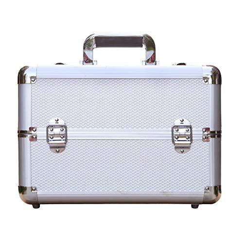 Mallette cosmétique portable, boîte à ongles, boîte à outils multifonction multifonction haute capacité, argent