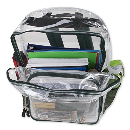 Deluxe Clear Backpack With Reinforced Straps For School, Security, and Sporting Events (Green)