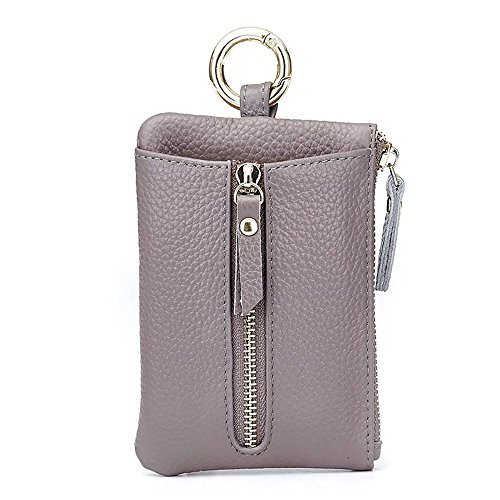 Aladin Womens Leather Key Case/Zipper Coin Purse/Card Holder Wallet Gray