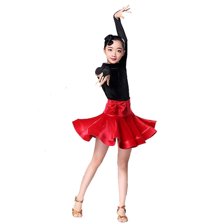 ドレスプリンセスコスチューム 子供キッズスパンコールフリンジステージパフォーマンスコンペティション社交ダンスドレス 肌にやさしい通気性 (色 : 赤, サイズ : 90)