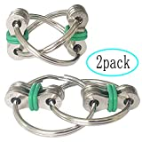 ZJT 2 Packs Flippy Chain Fidget Toys, Stress Relief Finger Fidget Toys Stainless Steel Fidget Rings Toys for Kids with ADD, ADHD, Anxiety, Autism (Green)