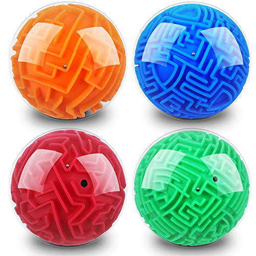 4 Pieces 3D Gravity Maze Ball Maze Puzzle Ball Magic Brain Teasers Games Sphere Educational Puzzle Toys Maze Puzzle Cube Ball for Adults and Students Teens and Hard Challenges Game Lover