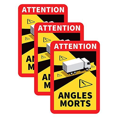 "Fahrzeug-Aufkleber""Angles Morts"" - Hinweisschild Angles Morts für Frankreich | als Aufkleber oder magnetisch | mit LKW oder Bus-Motiv | Warnung vor Totem Winkel (LKW-Motiv) (3PC)"