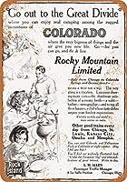 8 x 12 cm メタル サイン - 1910 ロック アイランド鉄道 コロラド ロッキー マウンテン リミテッド メタルプレートブリキ 看板 2枚セットアンティークレトロ