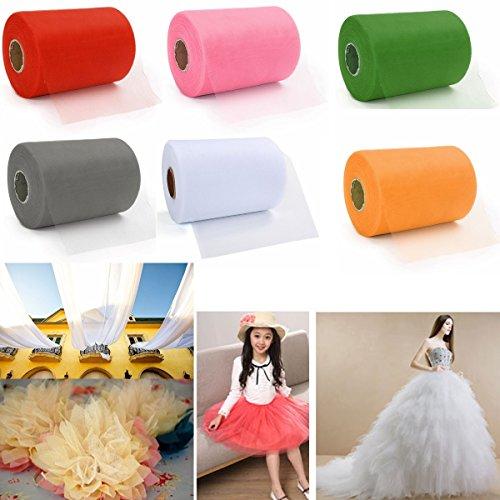 CAMTOA 90M x 15CM Tüll Tülldekostoff Tüllstoff für Hochzeit Party Auto Dekoration- Crafts Geschenk Bogen Tüllband Rollenspule 8 Farben Weiß
