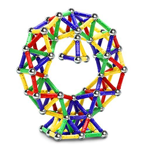 Jvchengxi 144PCS Palos Magnéticos, Bloques Magnéticos de Construcción Palos, Juguetes Educativos Set para Adultos y Niños (Mayores de 5 años)