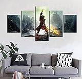 gtrb 5stampasutelain 5 pezzi videogioco poster dragon age picture pittura a olio per la decorazione domestica5quadrodipinto