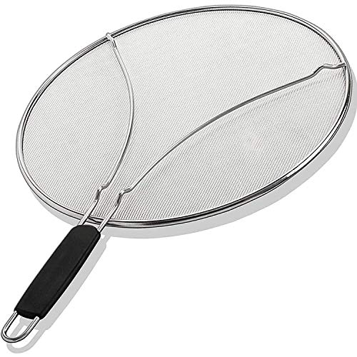 Grease Splatter Screen for Frying Pans and Skillets - Stainless Steel Splatter Mesh Guard Stops 99% of Hot Oil Splashes - Protects Skin from Burns and Helps Keep Kitchen Clean (13 Inches)