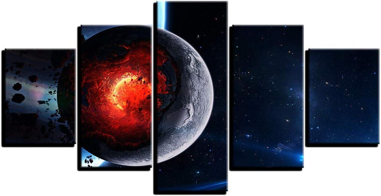 de moda Kshvc Marco Pintura Conjunta 5Lienzo Arte De La Parojo Imágenes Imágenes Imágenes Decoración para El Hogar 5 Unidades Cosmos Space Galaxy Planet Pintura Sala De Estar HD Impresiones Cartel Abstracto-A  compras en linea