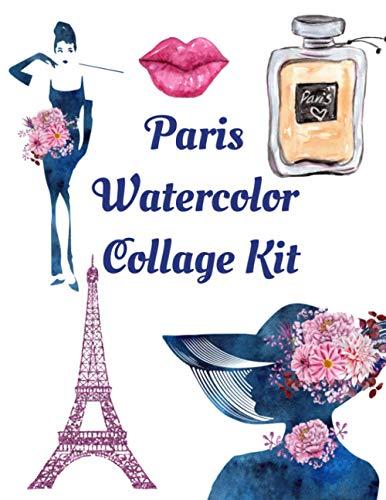 Paris Watercolor Collage Kit: Ephemera Embellishments | Junk Journal | Decoupage Paper Book | Scrapbooking Supplies Kit
