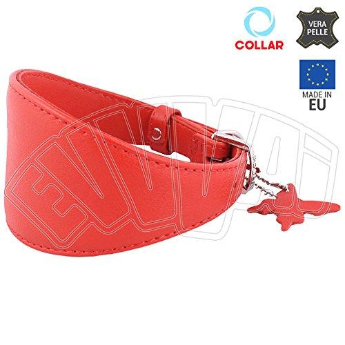 Halsband Glamour rood van leer voor honden, hondenhalsband Greyhounds