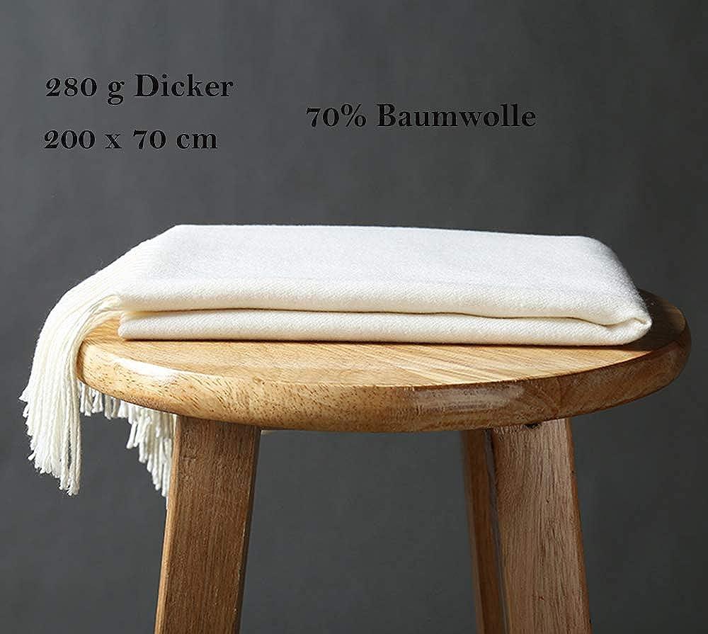 Kuckuck Schal Damen aus 70% Baumwolle, 10+ Winter Schals Sahneweiß 2020 Neu