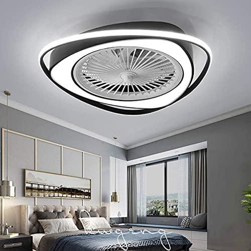 Ventilador De Techo Con Iluminación Luz LED Regulable Con Control Remoto Ajustable Luz De Techo De 3 Velocidades De Viento Comedor Moderno Dormitorio Sala De Estar Fan Candelabros Negro 58CM