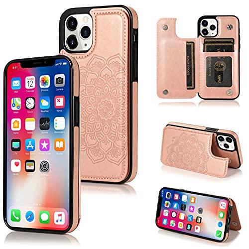 AMOYE Funda para iPhone 12 Pro Max, con tarjetero, de TPU y función atril, magnética, de piel, resistente a los golpes, para iPhone 12 de 6,7 pulgadas, oro rosa