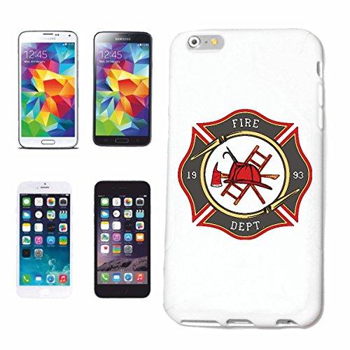 Bandenmarkt mobiele telefoonhoes compatibel met Samsung Galaxy S5 Mini FIRE Department badge American brandweerbadge met helm bijl en ladder Firefighter LÖSC