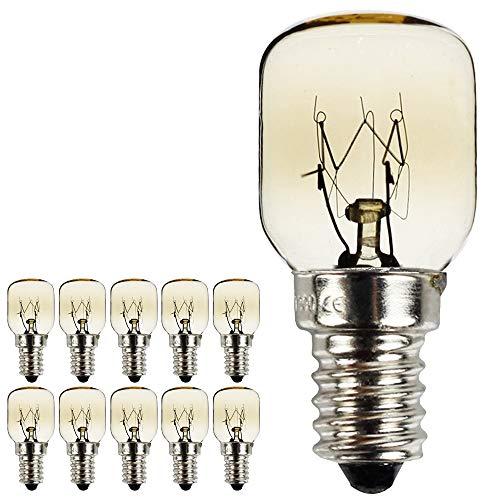 Tiafan, lampadine Pygmy con attacco a vite SES E14, 300 gradi, per luce notturna o per forno/forno a microonde, placcate in nichel, confezione da 10 pezzi Tradizionale
