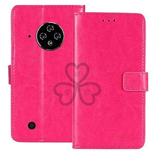 TienJueShi Rosa Retro Premium Función de Soporte Funda Caso Teléfono Case para DOOGEE S35 Pro 5 Inch Carcasa Proteccion Cuero Cover Etui