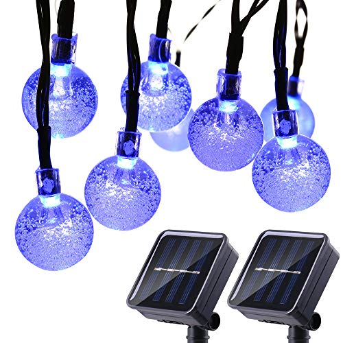 Joomer 2 Pack Globe Solar String Lights, Upgraded 20ft 30 LED Solar Patio Lights, Waterproof & 8 Modes for Patio, Garden, Gazebo, Yard, Outdoors (Blue)