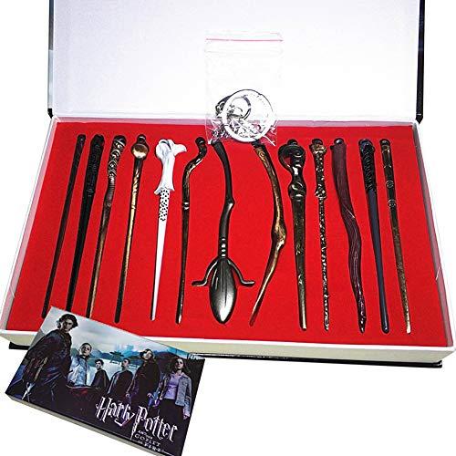 EisEyen 13 unids/Set Harry Potter Hermione Dumbledore Voldemort Varita mágica con Caja de Halloween Harri Potter Chico Hogwarts Varita mágica de Regalo