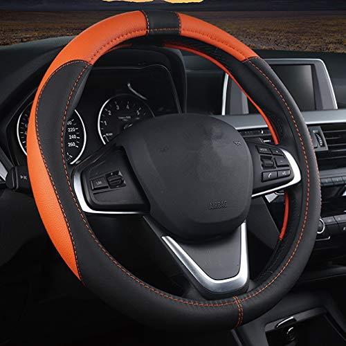 Pahajim Lenkradabdeckung Lenkradhülle Anti Rutsch Atmungsaktiv Lenkrad Abdeckung Hand nähen Spleißen Lenkradbezug aus Mikrofaser-Leder 38cm (Schwarz Orange)