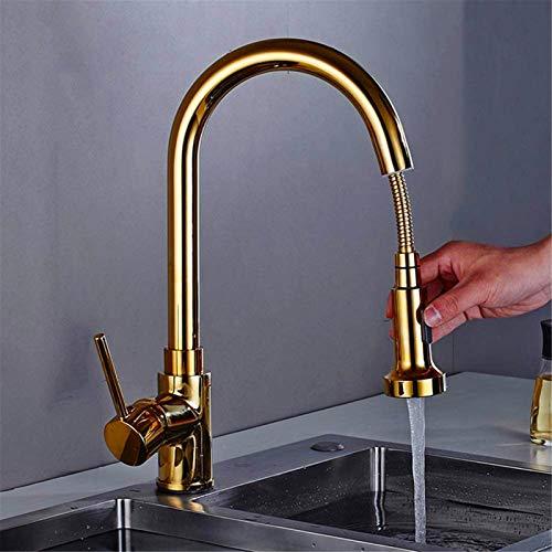 NJOLG Grifo de Cocina escalable Grifo de Cocina de Oro con Cabezal de Ducha Sola Mezclador de Lavabo de manija 360 Brasador de Lavabo Giratorio, Oro (Color : Gold)