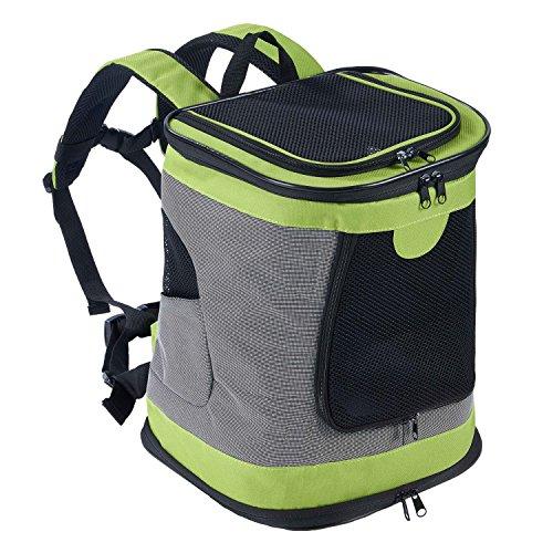 PETTOM Mochila para Perro Gatos Conejo Transpirable Plegable Pet Backpack para Mascotas de Peso hasta 8 kg Transportín con Fondo Rígido Viaje Aero Tren Trekking Bici Moto Verde