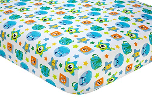 Disney Monsters On The Go Fitted Crib Sheet, Blue/Green/Orange/Yellow