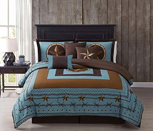Tulsa California King Bedding Set, 7-Piece Turquoise Brown Western Cowboy Oversized Comforter Set, Printed Texas Star Barbed Wire