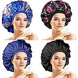 4 Piezas Gorro de Dormir de Satén Grande Bonnet de Satén Gorra de Noche Sedosa Elástica para Mujeres Chicas Pelo Rizado Largo (Patrón Elegante)