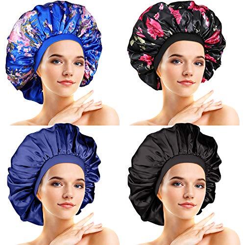 4 Stücke Große Satin Schlafmütze Satin Haube Elastische Seidige Nachtmütze für Frauen Mädchen Lockiges Langes Haar (Elegantes Muster)